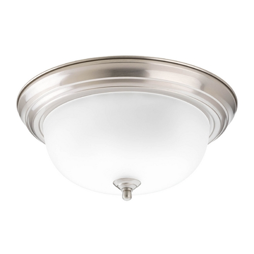 Progress Lighting Flushmount Light with Alabaster Glass in Brushed Nickel Finish P3925-09EB
