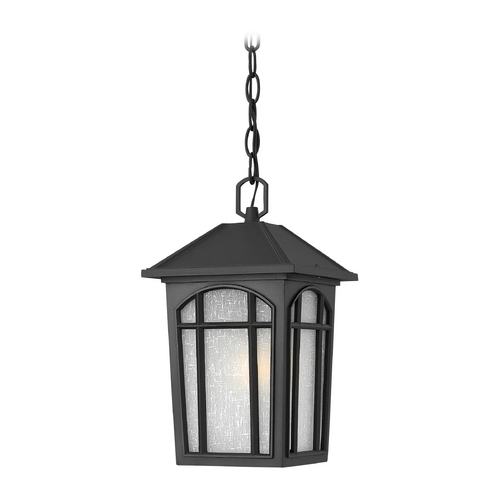 Hinkley Lighting Outdoor Hanging Light with White Glass in Black Finish 1982BK-GU24