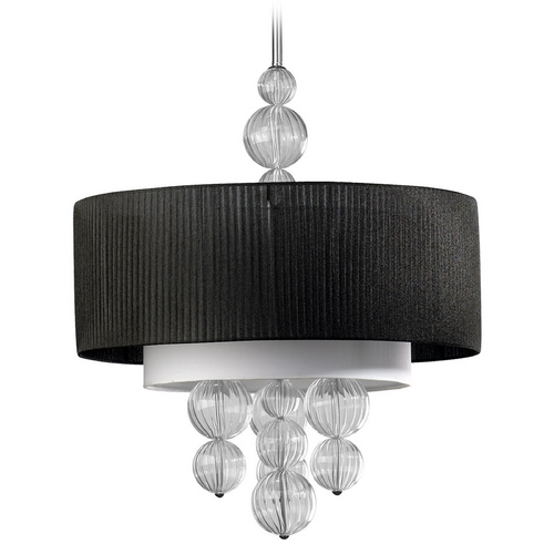 Cyan Design Cyan Design Kravet Clear & Black Pendant Light with Drum Shade 04626