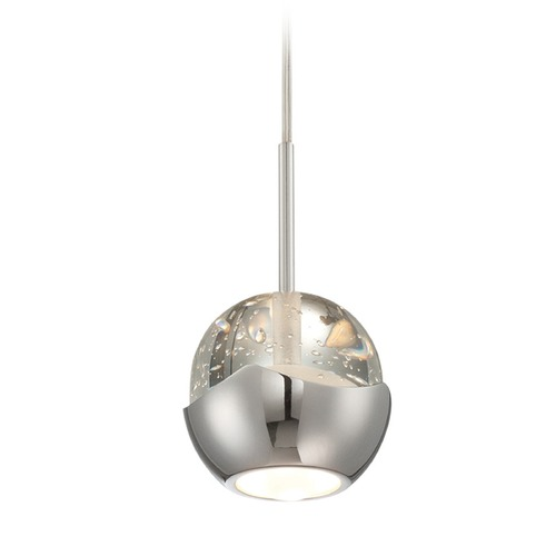Lite Source Lighting Lite Source Draplin Chrome LED Mini-Pendant Light with Bowl / Dome Shade LS-18191