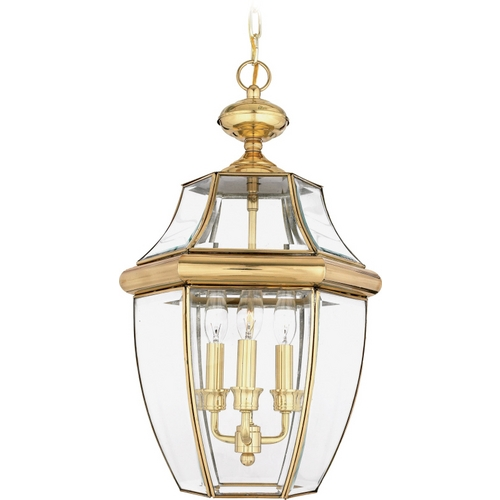 Quoizel Lighting Outdoor Hanging Light with Clear Glass in Polished Brass Finish NY1179B