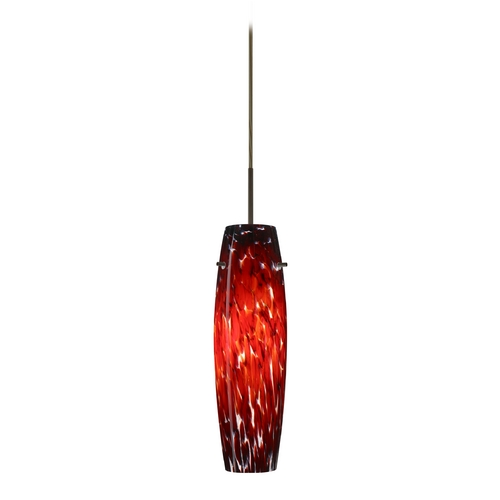 Besa Lighting Modern Pendant Light with Red Glass in Bronze Finish 1JT-489741-BR