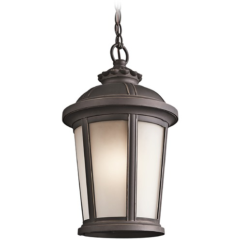 Kichler Lighting Kichler Outdoor Hanging Light with White Glass in Rubbed Bronze Finish 49412RZ