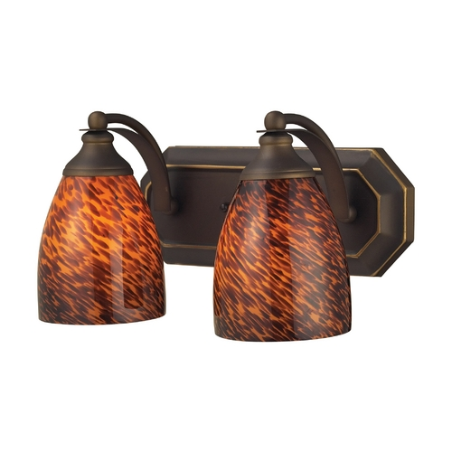 Elk Lighting Bathroom Light with Art Glass in Aged Bronze Finish 570-2B-ES