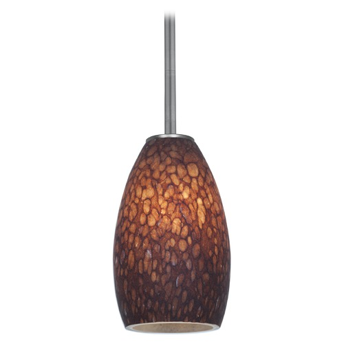 Access Lighting Modern Mini-Pendant Light with Brown Glass 28012-1R-BS/BRST