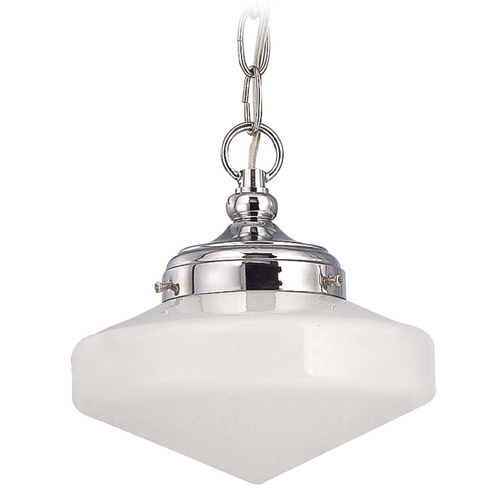Design Classics Lighting 8-Inch Schoolhouse Mini-Pendant Light in Chrome Finish with Chain FA4-26 / GE8 / A-26