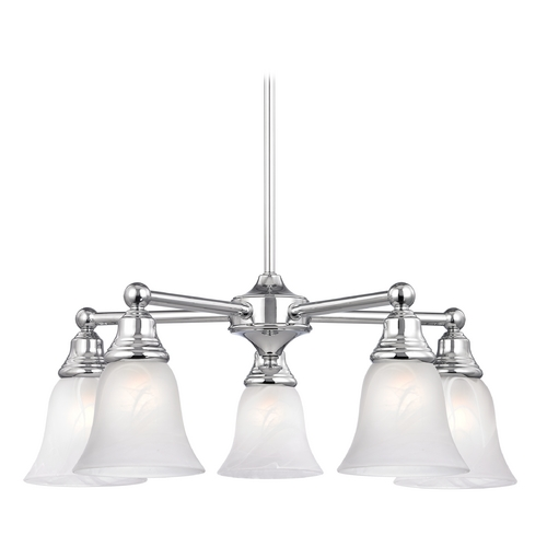 Design Classics Lighting Chandelier with Alabaster Glass in Polished Chrome Finish 597-26 GL9222-ALB