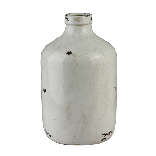 Light and Living Distressed White Decorative Vase  6224546