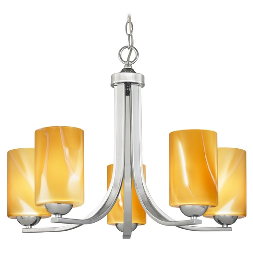 Design Classics Lighting Modern Chandelier with Butterscotch Art Glass in Polished Chrome Finish 584-26 GL1022C