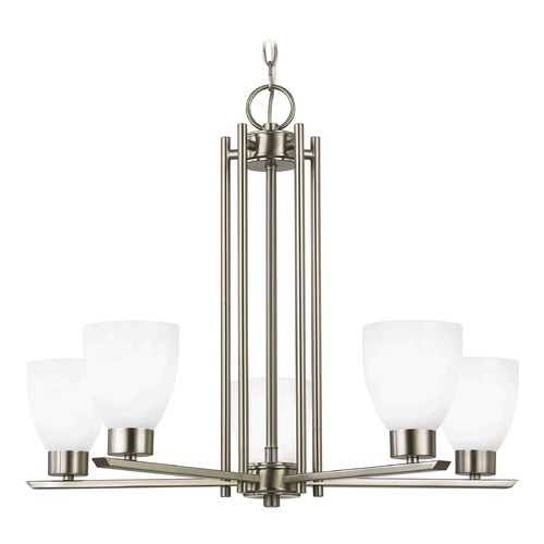 Design Classics Lighting Chandelier with White Glass in Satin Nickel - 5-Lights 1120-1-09 GL1024MB