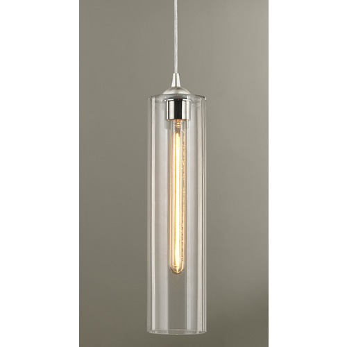 Design Classics Lighting Gala Fuse Satin Nickel Mini-Pendant Light with Cylindrical Shade 582-09 GL1640C