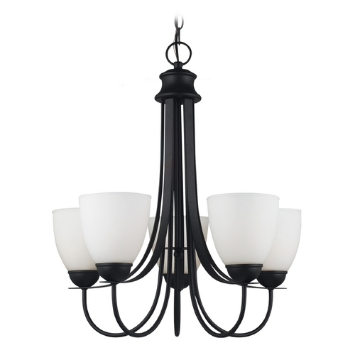 Sea Gull Lighting Chandelier with White Glass in Blacksmith Finish 31271-839