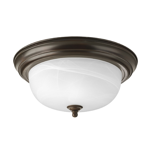 Progress Lighting Flushmount Light with Alabaster Glass in Antique Bronze Finish P3925-20EB