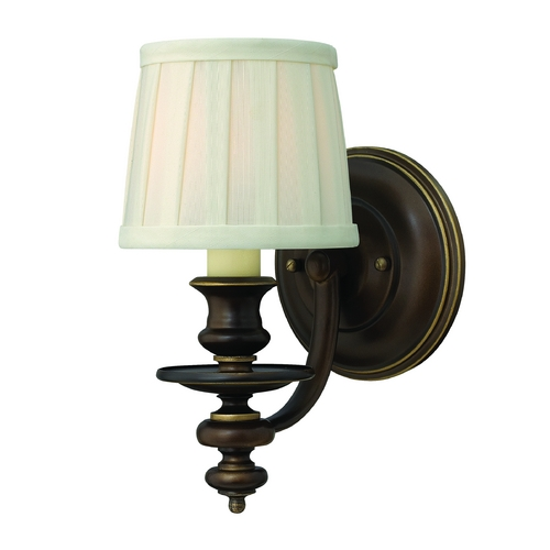 Hinkley Lighting Sconce Wall Light with White Shade in Royal Bronze Finish 4590RY