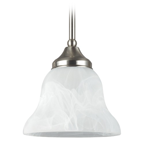 Sea Gull Lighting Sea Gull Lighting Brockton Brushed Nickel Mini-Pendant Light with Bell Shade 61174BLE-962
