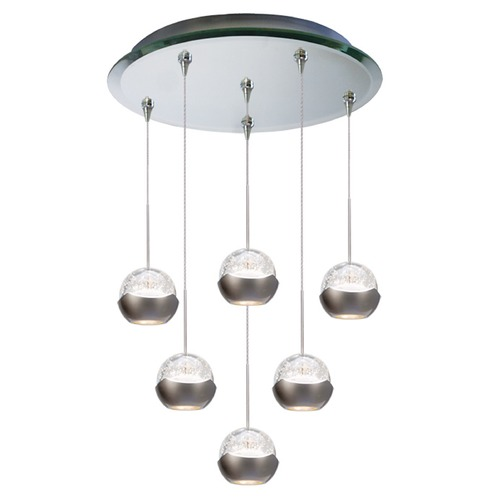 WAC Lighting WAC Lighting Genesis Mirror LED Multi-Light Pendant with Globe Shade QMP-LED311/6-MR