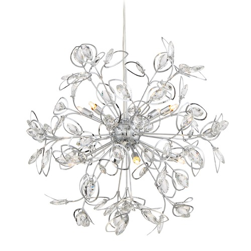 Quoizel Lighting Quoizel Lighting Platinum Collection Crystal Leaf Polished Chrome Pendant Light PCCF2824C