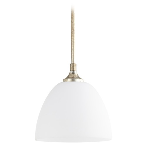 Quorum Lighting Quorum Lighting Enclave Aged Silver Leaf Mini-Pendant Light with Bowl / Dome Shade 3159-60