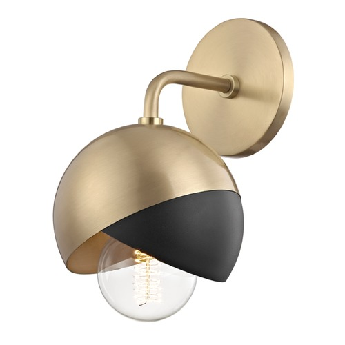 Mitzi by Hudson Valley Mid-Century Modern Sconce Brass Mitzi Emma by Hudson Valley H168101-AGB/BK