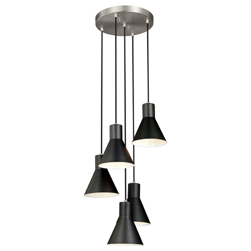 Sea Gull Lighting Sea Gull Lighting Towner Brushed Nickel / Black Multi-Light Pendant with Conical Shade 5141305-962