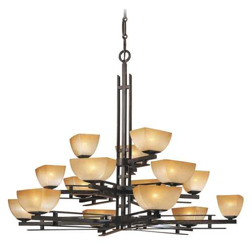 Minka Lavery Chandelier with Beige / Cream Glass in Iron Oxide Finish 1278-357