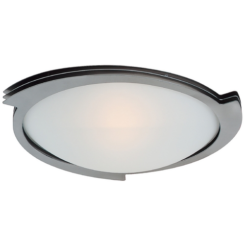 Access Lighting Modern Flushmount Light with White Glass in Brushed Steel Finish 50072-BS/FST