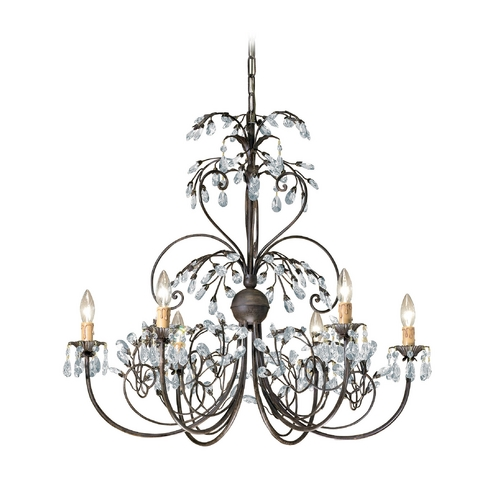 Crystorama Lighting Crystal Chandelier in Dark Rust Finish 4926-DR