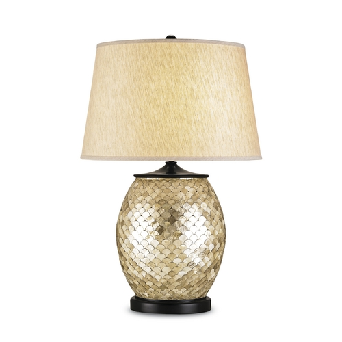 Currey and Company Lighting Table Lamp with Beige / Cream Shade in Natural/satin Black Finish 6380