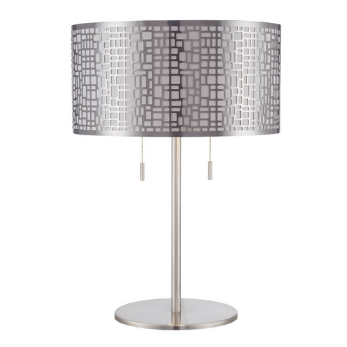 Lite Source Lighting Lite Source Lighting Torre Polished Steel Table Lamp with Drum Shade LS-22174PS