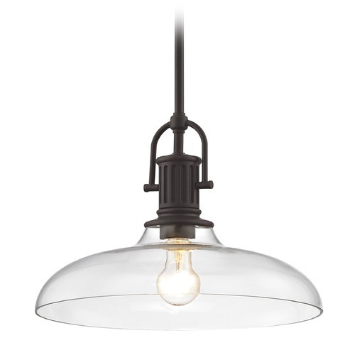 Design Classics Lighting Industrial Bronze Pendant Light with Clear Glass 14-Inch Wide 1764-220 G1784-CL