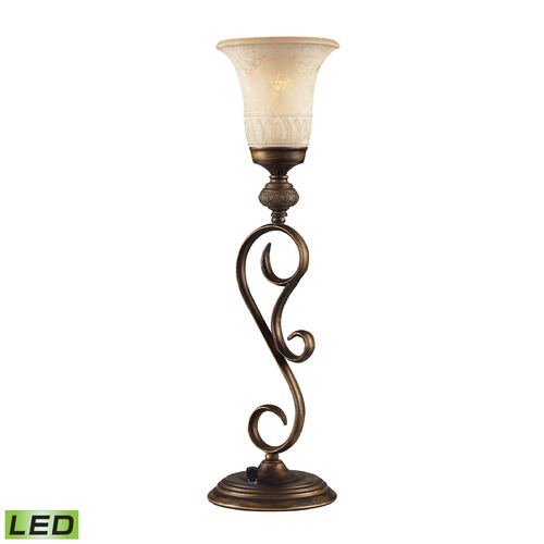 Dimond Lighting Dimond Briarcliff Weathered Umber LED Table Top Torchiere Lamp with Bell Shade 2474/1-LED