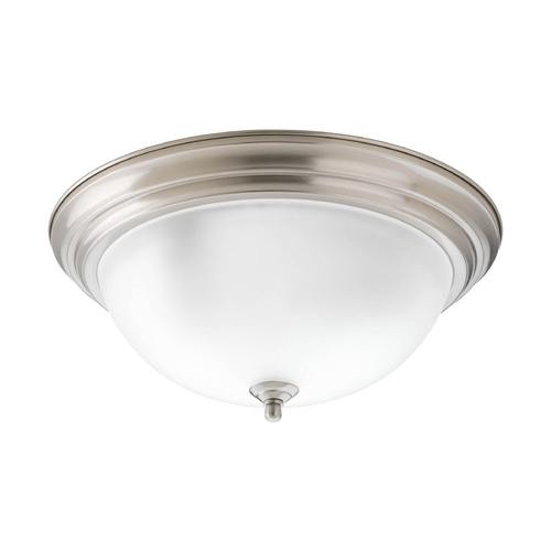 Progress Lighting Flushmount Light with Alabaster Glass in Brushed Nickel Finish P3926-09EB