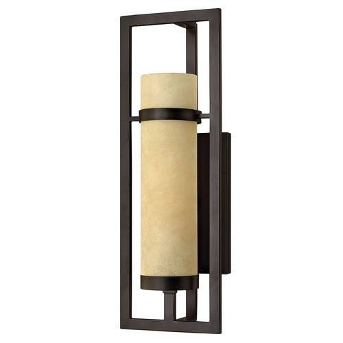 Hinkley Lighting Sconce Wall Light with Beige / Cream Glass in Rustic Iron Finish 4090RI