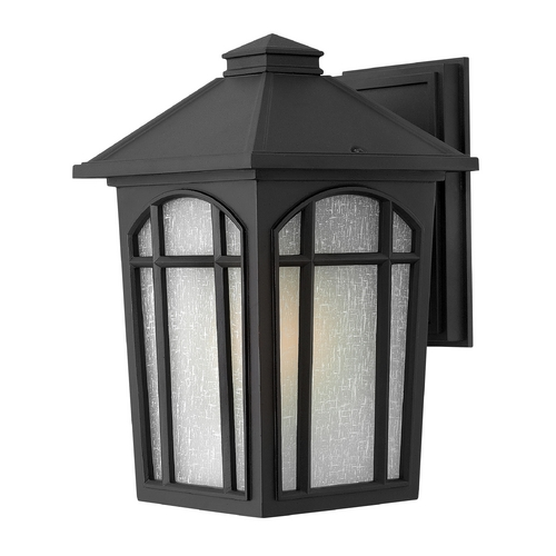 Hinkley Lighting Outdoor Wall Light with White Glass in Black Finish 1984BK-GU24