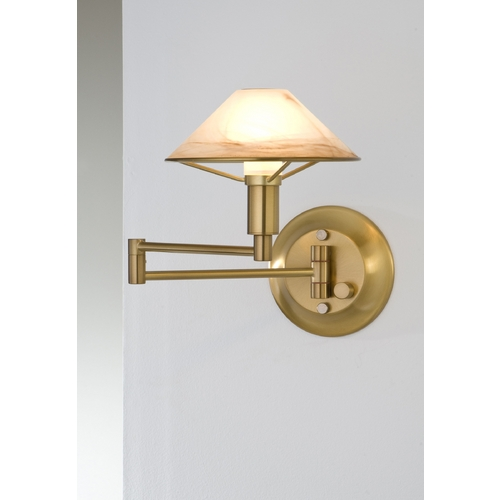 Holtkoetter Lighting Holtkoetter Modern Swing Arm Lamp with Alabaster Glass in Antique Brass Finish 9426 AB ABR