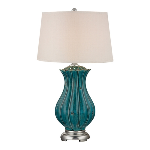 Dimond Lighting LED Table Lamp with Beige / Cream Shades in Tallahassee Teal Finish D2453-LED