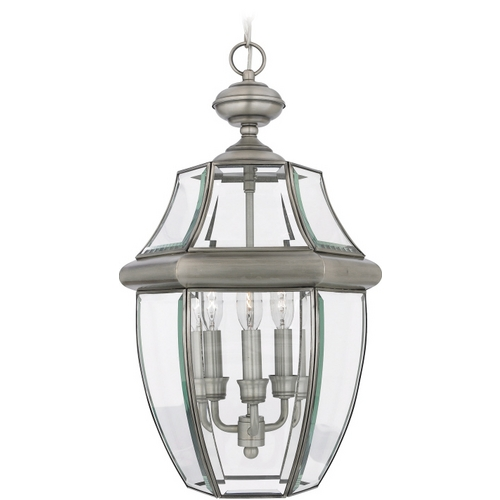 Quoizel Lighting Outdoor Hanging Light with Clear Glass in Pewter Finish NY1179P