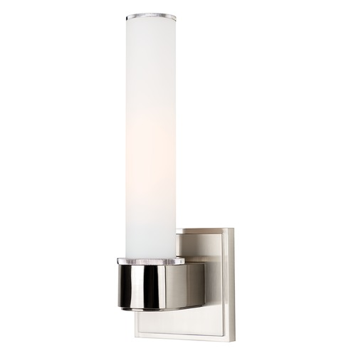 Hudson Valley Lighting Modern Sconce with White Glass in Satin Nickel Finish 1261-SN
