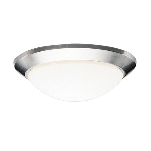 Kichler Lighting Kichler Flushmount Light with White Glass in Brushed Nickel Finish 8881NIFL