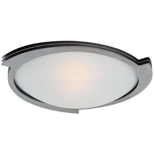Access Lighting Modern Flushmount Light with White Glass in Brushed Steel Finish 50073-BS/FST
