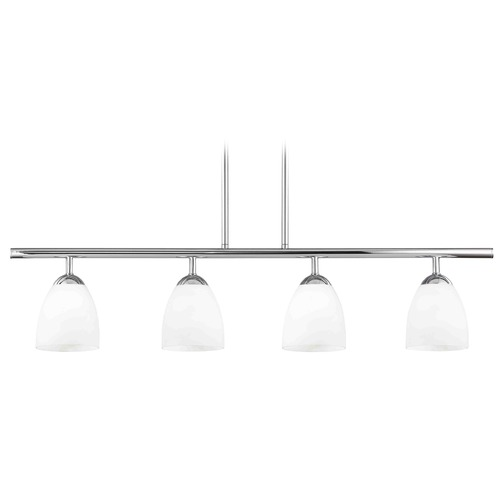 Design Classics Lighting Modern Island Light with White Glass in Chrome Finish 718-26 GL1024MB
