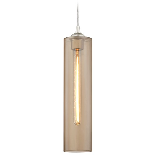 Design Classics Lighting Gala Fuse Satin Nickel Mini-Pendant Light with Cylindrical Shade 582-09 GL1650C