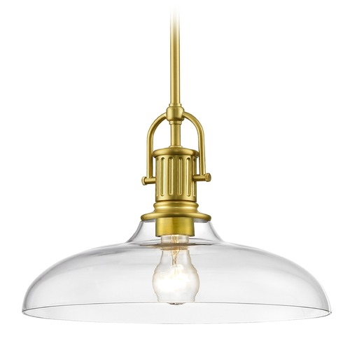Design Classics Lighting Industrial Brass Pendant Light with Clear Glass 14-Inch Wide 1764-12 G1784-CL