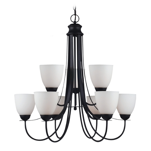 Sea Gull Lighting Chandelier with White Glass in Blacksmith Finish 31272-839