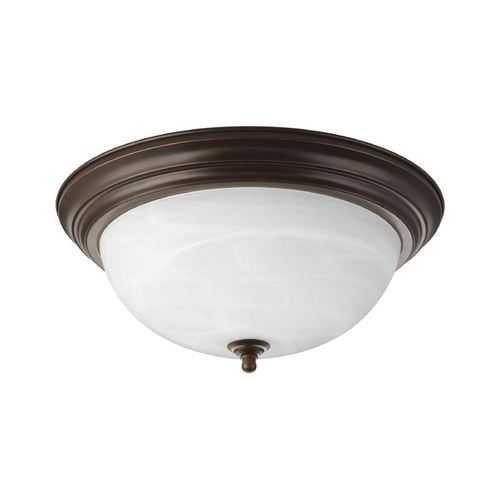 Progress Lighting Flushmount Light with Alabaster Glass in Antique Bronze Finish P3926-20EB
