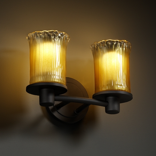 Justice Design Group Justice Design Group Veneto Luce Collection Bathroom Light GLA-8512-16-GLDC-MBLK