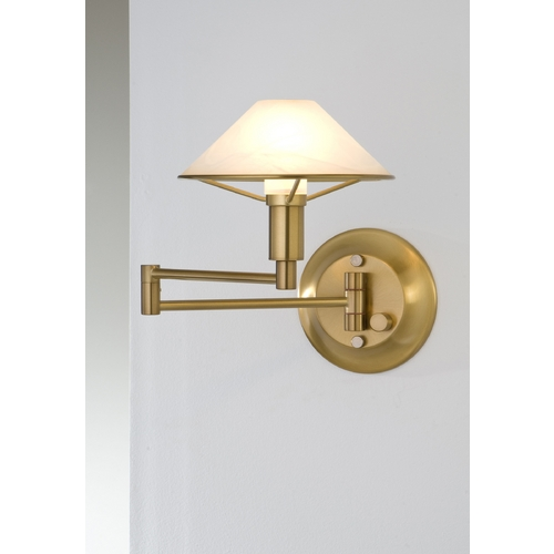 Holtkoetter Lighting Holtkoetter Modern Swing Arm Lamp with Alabaster Glass in Antique Brass Finish 9426 AB AWH