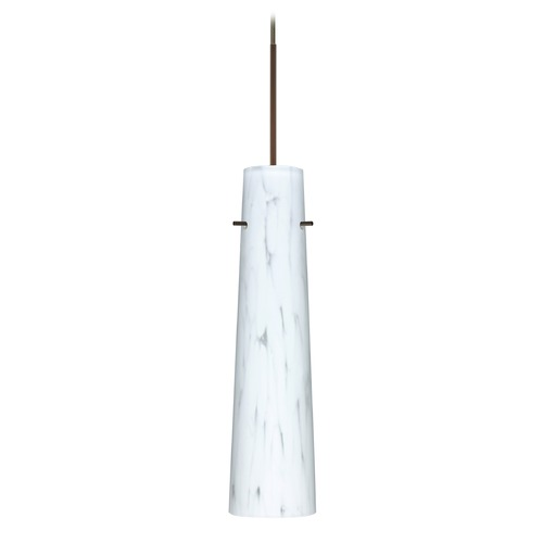Besa Lighting Besa Lighting Camino Bronze Mini-Pendant Light with Cylindrical Shade 1XT-567419-LED-BR