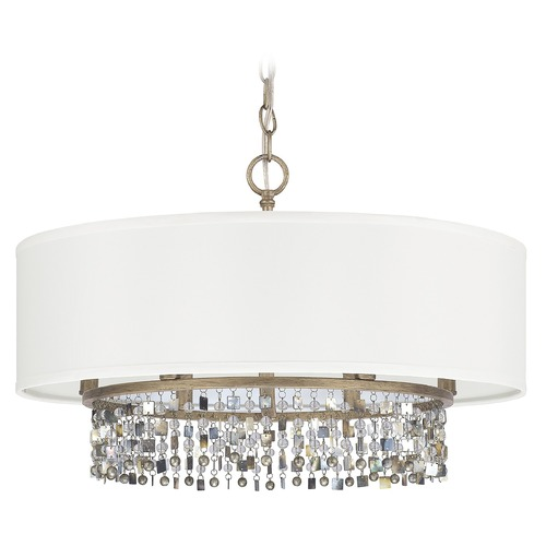 Capital Lighting Capital Lighting Harper Brushed Gold Pendant Light with Drum Shade 4216BG-544-CP