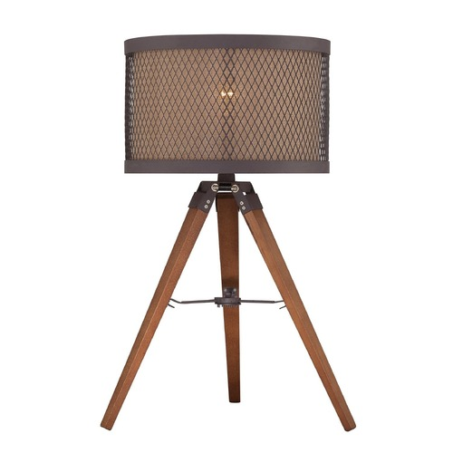 Lite Source Lighting Lite Source Aged Rust Table Lamp with Drum Shade LS-22797